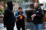 Rodney Overby former Sydney King Basketball player with organisers about march on Parliament House at the Archibald Fountain in Hyde Park on 02 June, 2020 in Sydney, Australia. Black Lives Matter protest was arranged by Australian Communist Party with Australia's First Nations People following the killing of an unarmed black man George Floyd at the hands of a police officer in Minneapolis, Minnesota. (Photo by Pete Dovgan/ Speed Media)
