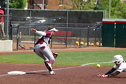 22 April 2017:  Alex Caliva slides into third safely as the throw goes wide during a Missouri Valley Conference (MVC) women's softball game between the Missouri State Bears and the Illinois State Redbirds on Marian Kneer Field in Normal IL