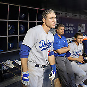 NEW YORK, NEW YORK - May 22:  Chase Utley #26 of the Los Angeles Dodgers in the dugout preparing to bat during the Los Angeles Dodgers Vs New York Mets regular season MLB game at Citi Field on May 27, 2016 in New York City. (Photo by Tim Clayton/Corbis via Getty Images)