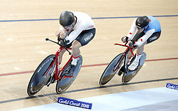 England's Daniel Bigham ahead of Canada's Derek Gee (right) in the Men's 4000m Individual Pursuit Qualifying at the Anna Meares Velodrome during day two of the 2018 Commonwealth Games in the Gold Coast, Australia.