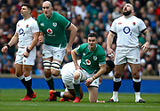 L-R Ben Youngs of England, Iain Henderson of Ireland , Jonathan Sexton of Ireland  and Joe Marler of England during the Guinness Six Nations between England and Ireland at Twickenham  Stadium, Sunday, Feb. 23, 2020, in London, United Kingdom. (ESPA-Images/Image of Sport)