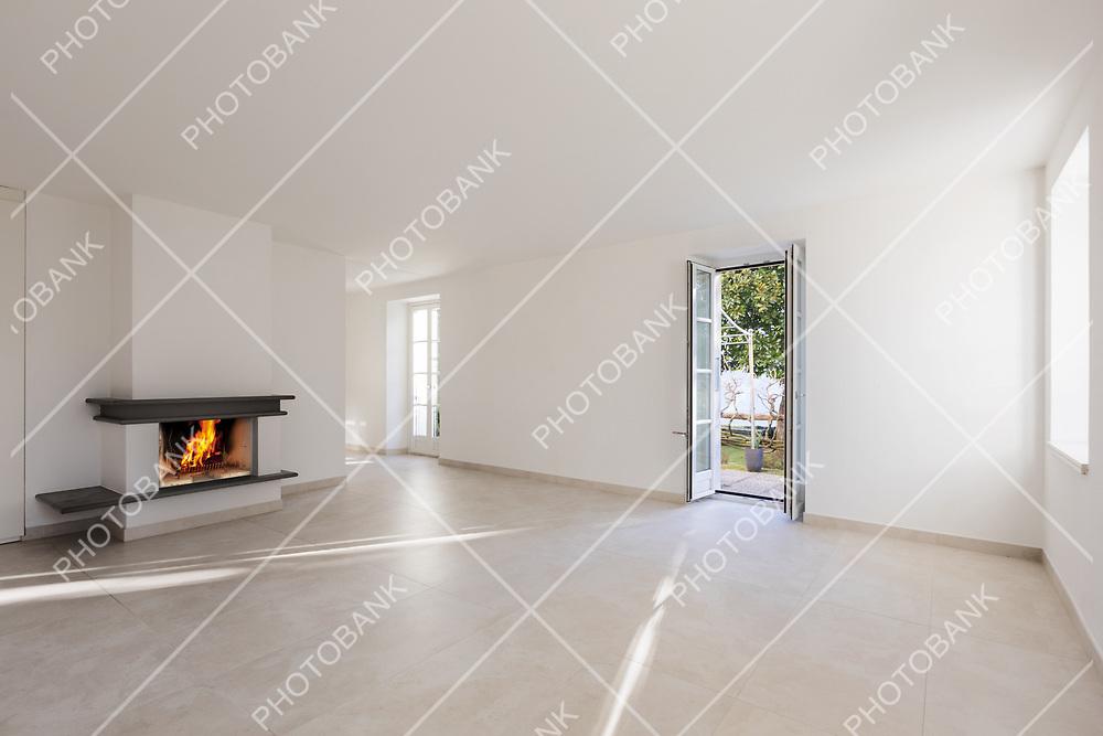 Modern empty wide room, white walls