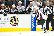 DALLAS, TX - NOVEMBER 1:  Cory Sarich #16 of the Colorado Avalanche controls the puck against the Dallas Stars on November 1, 2013 at the American Airlines Center in Dallas, Texas.  (Photo by Cooper Neill/Getty Images) *** Local Caption *** Cory Sarich