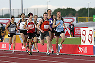 Super 8 athletics at the Cardiff International Stadium on Wed 10th June 2009. Paul Bradshaw (light blue) of Manchester on his way to winning the men's 800m race.