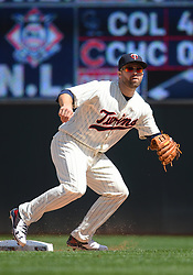 May 2, 2018 - Minneapolis, MN, U.S. - MINNEAPOLIS, MN - MAY 02: Minnesota Twins Second base Brian Dozier (2) gets into position during a MLB game between the Minnesota Twins and Toronto Blue Jays on May 2, 2018 at Target Field in Minneapolis, MN.The Twins defeated the Blue Jays 4-0.(Photo by Nick Wosika/Icon Sportswire) (Credit Image: © Nick Wosika/Icon SMI via ZUMA Press)