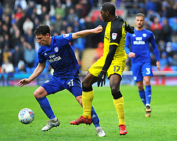 Craig Bryson of Cardiff City is challenged by Marvin Sordell of Burton Albion - Mandatory by-line: Nizaam Jones/JMP- 30/03/2018 -  FOOTBALL -  Cardiff City Stadium- Cardiff, Wales -  Cardiff City v Burton Albion - Sky Bet Championship