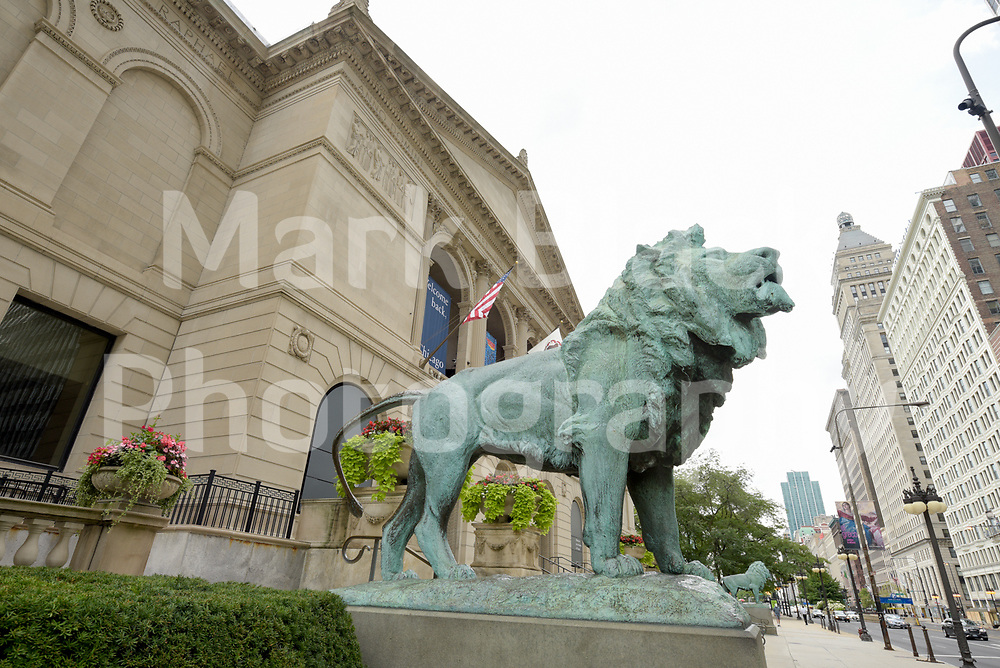 The Art Institute of Chicago lion statues along Michigan Avenue in Chicago, Illinois.<br /> Photo by Mark Black