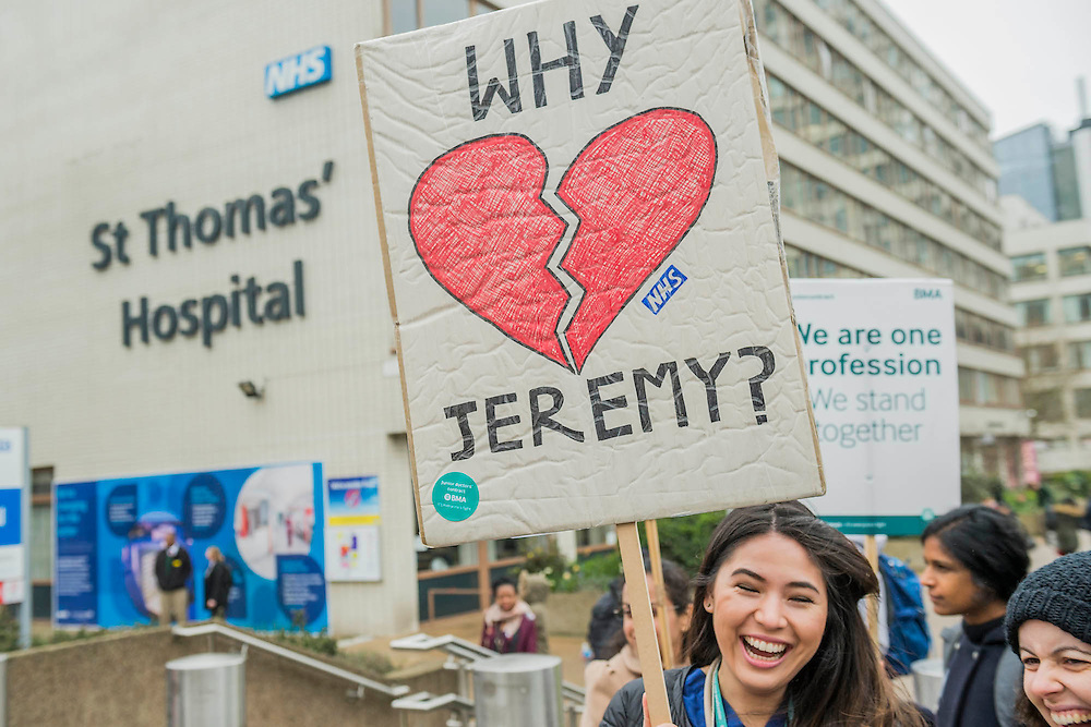 Dr Anjani Knobel - The picket line at St Thomas' Hospital. Junior Doctors stage another 48 hours of strike action against the new contracts due to be imposed by the Governemnt and health minister Jeremy Hunt.
