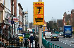 Police no drinking area sign in Polish; Reading; Berks UK