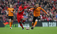 Football - 2016 / 2017 FA Cup - Fourth Round: Liverpool vs. Wolverhampton Wanderers<br /> <br /> Lee Evans of Wolverhampton Wanderers and Oviemuno Ejaria of Liverpool during the match at Anfield.<br /> <br /> COLORSPORT/LYNNE CAMERON