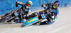 13.03.2016, Assen, BEL, FIM Eisspeedway Gladiators, Assen, im Bild Guenther Bauer (GER), Egor Myshkovets (RUS) // during the Astana Expo FIM Ice Speedway Gladiators World Championship in Assen, Belgium on 2016/03/13. EXPA Pictures © 2016, PhotoCredit: EXPA/ Eibner-Pressefoto/ Stiefel<br /> <br /> *****ATTENTION - OUT of GER*****