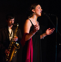"""""""Colleen O'Brien & the Jelly Bears"""" Andrew Emanuel on sax accomanpies Bryson Haddock singing during Laconia's Got Talent on Thursday evening to benefit the Got Lunch program.   (Karen Bobotas/for the Laconia Daily Sun)"""