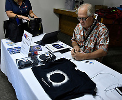 Aug 19,2017.  Casper WY. Astrocon attendees had a lot of eclipse SWAG to puck up on during day 3 of the 2017 Astrocon convention Saturday in Casper  Wy. The town is expecting over 100,000+ eclipse goers to invade the town as it lies in the middle of totality for a full 100% total eclipse for Monday Aug 21st. Photo by Gene Blevins/LA DailyNews/SCNG/ZumaPress. (Credit Image: © Gene Blevins via ZUMA Wire)