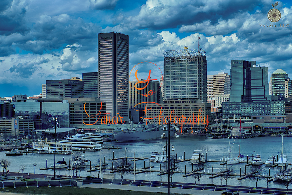 Baltimore's famous Inner Harbor taken from Federal Hill. Please select Shopping Cart Below to Purchase prints and gallery-wrapped canvases, magnets, t-shirts and other accessories
