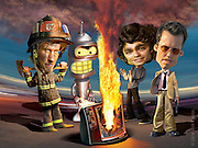 Caricature: Rescue Me with Dennis Leary, Futurama with Bender, Entourage with Adrian Grenier, Burn Notice with Jeffrey Donovan. 3D modelling and Photoshop for Penthouse Full Frontal Entertainment Review.
