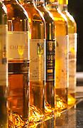 Bottles of sweet white bordeaux wine. Barsac, Sauternes. Bordeaux, France