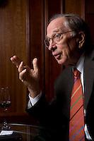 """2008, BERLIN/GERMANY:<br /> Samuel Augustus """"Sam"""" Nunn, US-amerikanischer Geschäftsmann und Politiker der Demokraten, ehem. Senator im US-Senat, waehrend einem Interview, Hotel Adlon<br /> IMAGE: 20080612-01-020"""