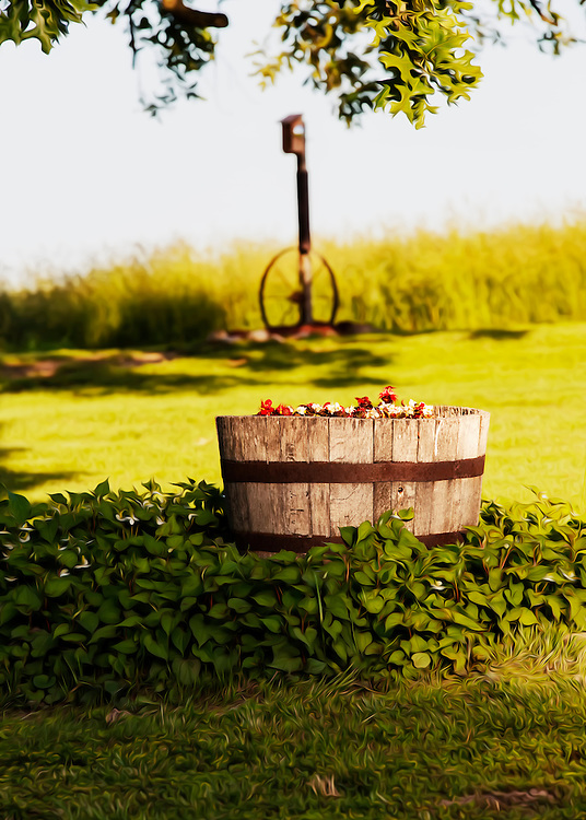 An old wooden barrel filles with summer flowers in a New Melle front yard.