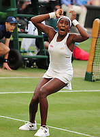 Tennis - 2019 Wimbledon Championships - Week One, Friday (Day five)<br /> <br /> Womens singles, 3th Round Polona Hercog (SLO) v Cori Gauff (USA)<br /> <br /> Cori Gauff  celebrates inning the match on Centre Court <br /> <br /> COLORSPORT/ANDREW COWIE