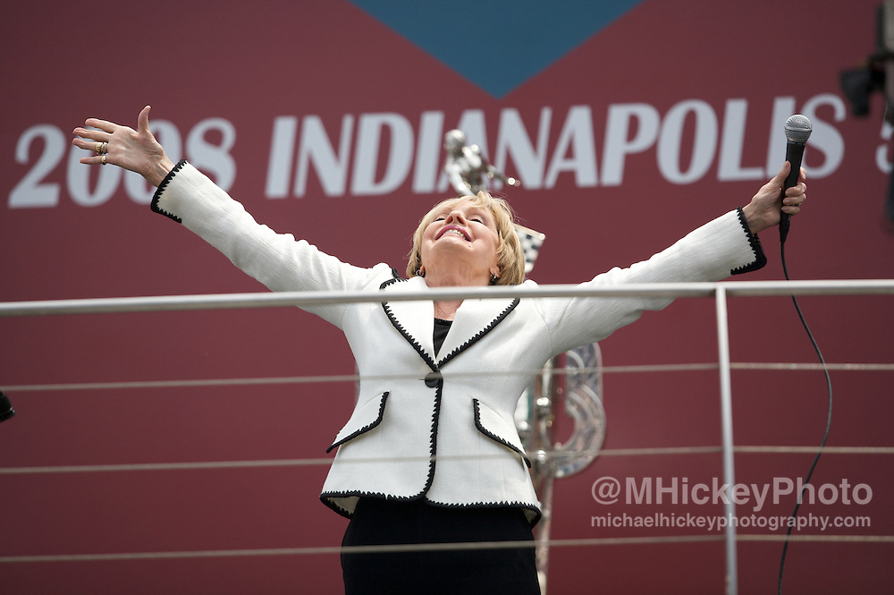 Actress Florence Henderson sings God Bless America before the running of the 92nd Indianapolis 500 on May 25, 2008. Photo by Michael Hickey