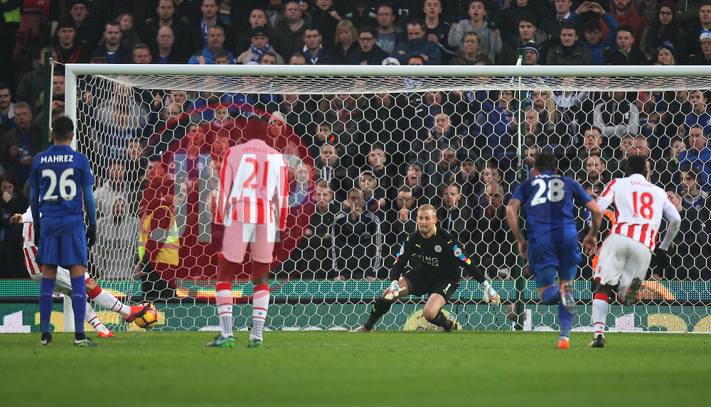 Bojan Krkic of Stoke City (Hidden) scores his sides first goal from the penalty spot - Mandatory by-line: Jack Phillips/JMP - 17/12/2016 - FOOTBALL - Bet365 Stadium - Stoke-on-Trent, England - Stoke City v Leicester City - Premier League