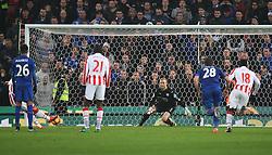 Bojan Krkic of Stoke City (Hidden) scores his sides first goal from the penalty spot - Mandatory by-line: Jack Phillips/JMP - 17/12/2016 - FOOTBALL - Bet365 Stadium - Stoke-on-Trent, England - Stoke City v Leicester City - Premier League