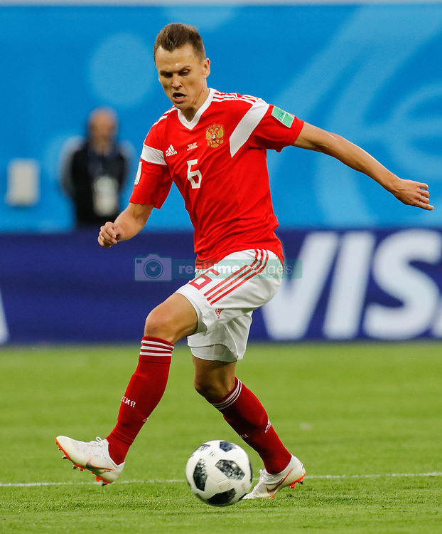 June 19, 2018 - Saint Petersburg, Russia - Denis Cheryshev of Russia national team during the 2018 FIFA World Cup Russia group A match between Russia and Egypt on June 19, 2018 at Saint Petersburg Stadium in Saint Petersburg, Russia. (Credit Image: © Mike Kireev/NurPhoto via ZUMA Press)