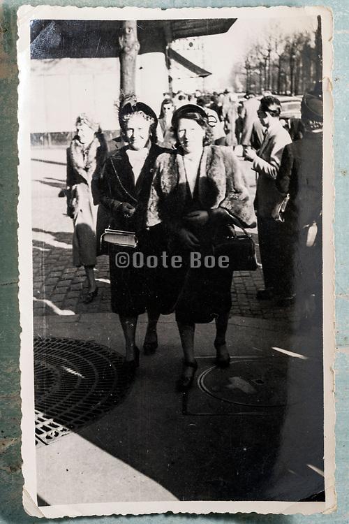 women friends walking in the street France 1953