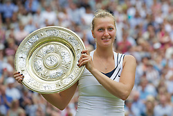 02.07.2011, Wimbledon, London, GBR, WTA Tour, Wimbledon Tennis Championships, Final, im Bild Petra Kvitova (CZE) celebrates with the trophy after winning the Ladies' Singles Final on day twelve of the Wimbledon Lawn Tennis Championships at the All England Lawn Tennis and Croquet ClubEXPA Pictures © 2011, PhotoCredit: EXPA/ Propaganda/ David Rawcliffe +++++ ATTENTION - OUT OF ENGLAND/UK +++++