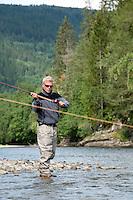 Flyfishing in river Orkla, Rennebu, Norway<br /> Model name: Stefan Enevoldsen-Model release form valid by photographer