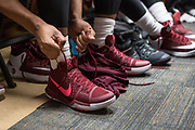 Greenville, South Carolina - March 17, 2017: TSU Tiger Ty Bynum ties his shoe before the game. The TSU Tigers played the UNC Tarheels in the first round of the 2017 NCAA Men's Tournament (Michael Starghill, Jr. for The Undefeated)