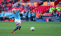 Manchester City's Steph Houghton scores during the penalty shoot out during the FA Women's Continental League Cup final at Bramall Lane, Sheffield.
