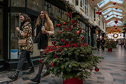 © Licensed to London News Pictures. 24/11/2020. LONDON, UK.  Women out and about enjoy the Christmas decorations that are on display in Burlington Arcade in Mayfair.  The shops are currently closed and will reopen once England's lockdown restrictions are eased by the UK government after 2 December.  Photo credit: Stephen Chung/LNP