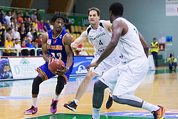 Hugh Gibson Robertson Junior of KK Helios Suns and Goran Jurak (C) of KK Zlatorog during basketball match between KK Zlatorog and KK Helios Suns in 1st match of Nova KBM Slovenian Champions League Final 2015/16 on May 29, 2016  in Dvorana Zlatorog, Lasko, Slovenia.  Photo by Ziga Zupan / Sportida