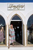 29/Septiembre/2020 Islas Baleares. Ibiza.<br /> 50º Aniversario de la Moda Adlib.<br /> La diseñadora Dora Herbst posa en la entrada de su tienda en Marina Botafoch.<br /> <br /> © JOAN COSTA