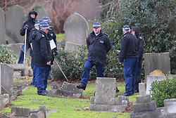 © Licensed to London News Pictures, London, UK, Police search teams looking for evidence after the body, believed to be 49 year old Seyed Khan was discovered at the cemetry in Buckingham Road in Ilford. Police are questioning a 30 year old male in connection with the murder. Photo credit: Steve Poston/LNP
