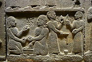 """Hittite monumental relief sculpted orthostat stone panel of Royal Buttress. Basalt, Karkamıs, (Kargamıs), Carchemish (Karkemish), 900 - 700 B.C. Anatolian Civilisations Museum, Ankara, Turkey.<br /> <br /> This panels scene showing 8 out of 10 children of the King, the hieroglyphs reads as follows: """"Malitispas, Astitarhunzas, Tamitispas,Isikaritispas, Sikaras, Halpawaris, Ya hilatispas"""". Above, there are three figures holding knucklebones (astragalus) and one figure walking by leaning on a stick; below are two each figures playing the knucklebones and turning whirligigs. .<br />  <br /> If you prefer to buy from our ALAMY STOCK LIBRARY page at https://www.alamy.com/portfolio/paul-williams-funkystock/hittite-art-antiquities.html  - Type  Karkamıs in LOWER SEARCH WITHIN GALLERY box. Refine search by adding background colour, place, museum etc<br /> <br /> Visit our HITTITE PHOTO COLLECTIONS for more photos to download or buy as wall art prints https://funkystock.photoshelter.com/gallery-collection/The-Hittites-Art-Artefacts-Antiquities-Historic-Sites-Pictures-Images-of/C0000NUBSMhSc3Oo ."""