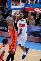 Real Madrid's Anthony Randolph and Valencia Basket's Will Thomas during Quarter Finals match of 2017 King's Cup at Fernando Buesa Arena in Vitoria, Spain. February 19, 2017. (ALTERPHOTOS/BorjaB.Hojas)