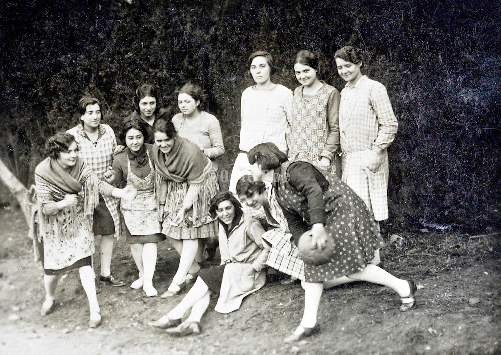 young adult girls only group posing while playing with a ball 1910s 1920s France