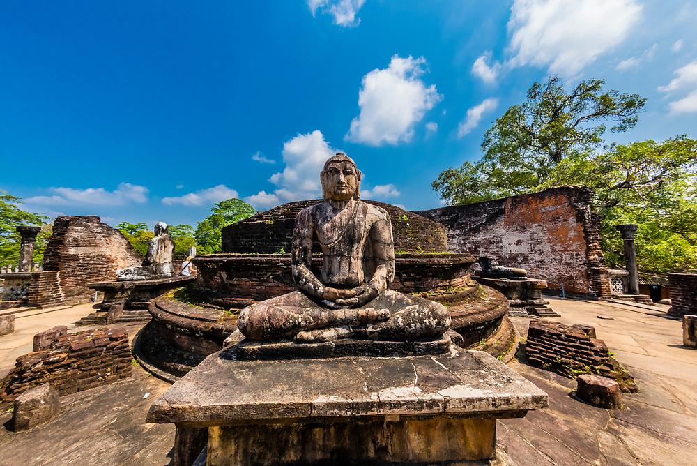 Buddha Statue, Sacred Quadrangle, Ruins of ancient city, Polonnaruwa, Sri Lanka.