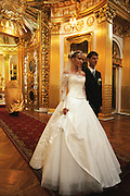 Russian Orthodox wedding in the Transfiguration Cathedral in St. Petersburg, Russia