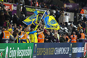 ASM Clermont Auvergne fans celebrate at the final whistle of the European Rugby Challenge Cup match between Ospreys and ASM Clermont Auvergne at The Liberty Stadium, Swansea on 15 October 2017. Photo by Andrew Lewis.