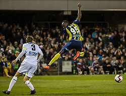 CAMPBELLTOWN, Oct. 12, 2018  Jamaican Olympic gold medalist Usain Bolt (R) of Central Coast Mariners shoots during a charity football game between Central Coast Mariners and Macarthur South West United in Campbelltown, Australia, Oct. 12, 2018. Usain Bolt scored his first goals in professional football games on Friday. (Credit Image: © Zhu Hongye/Xinhua via ZUMA Wire)