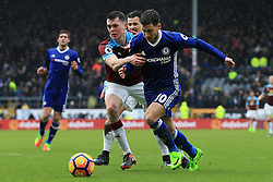 12th February 2017 - Premier League - Burnley v Chelsea - Michael Keane of Burnley battles with Eden Hazard of Chelsea - Photo: Simon Stacpoole / Offside.