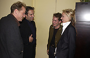 Ian Glen, Sam Mendes, Tom Hollander and Daphne Guinness. Uncle Vanya, Donmar Warehouse and afterwards at 1 Aldwych. 30 September 2002. © Copyright Photograph by Dafydd Jones 66 Stockwell Park Rd. London SW9 0DA Tel 020 7733 0108 www.dafjones.com