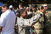 January 27 2016: Soldier takes a selfie with Seattle Seahawks Russell Wilson in the background during the Pro Bowl Draft at Wheeler Army Base on Oahu, HI. (Photo by Aric Becker/Icon Sportswire)
