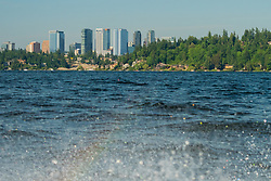 United States, Washington, Bellevue. Skyline from Lake Washington.
