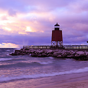 """""""Charlevoix Sunset""""<br /> <br /> Beautiful Lake Michigan sunset at the Charlevoix lighthouse!!<br /> <br /> Sunset Images by Rachel Cohen"""