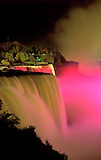Image of Niagara Falls at night with light show, New York, America Northeast by Randy Wells