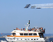 Blue Angels jets fly low over Lake Washington on Sunday. (Greg Gilbert / The Seattle Times)